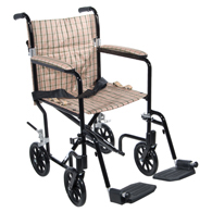 "Drive FW19DB Flyweight Transport Wheelchair-19""-Black/Tan Plaid"