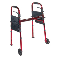 "Drive RTL10263KDR Folding Travel Walker w/ 5"" Wheels & Fold up Legs"