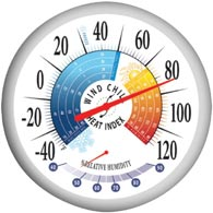 "Springfield 90078 13.25"" Wind Chill/Heat Index Thermometer"