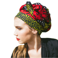 TurbanDiva Designs 335 One Piece Wax Print African Turban Head Wrap